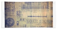 Vintage Yankee Stadium Blueprint Beach Sheet