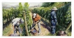 Vineyard Watercolor Beach Towel