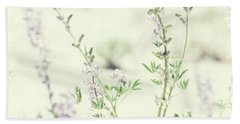 Violet And Green Bloom Beach Sheet by Amyn Nasser