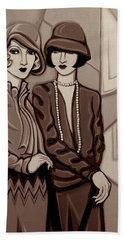 Violet And Rose In Sepia Tone Beach Towel by Tara Hutton