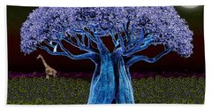 Violet Blue Baobab Beach Sheet by Iowan Stone-Flowers