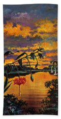 Violet Gold And Green Beach Towel