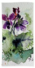 Beach Towel featuring the painting Violet Iv by Kovacs Anna Brigitta