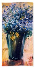 Beach Towel featuring the painting Violets by Mikhail Zarovny