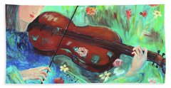 Violinist In Garden Beach Towel by Haleh Mahbod