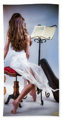 Beach Towel featuring the photograph Violinista #1 by Rikk Flohr