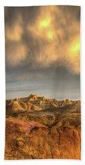 Virga Over The Badlands Beach Towel by Fiskr Larsen