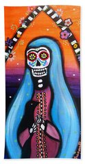 Beach Towel featuring the painting Virgen Guadalupe Muertos by Pristine Cartera Turkus