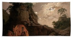 Beach Towel featuring the painting Virgil's Tomb By Moonlight With Silius Italicus Declaiming by Joseph Wright of Derby