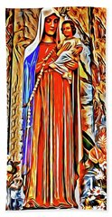 Beach Towel featuring the painting Virgin And Child by Joan Reese