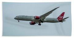 Virgin Atlantic Airplane Gwmap Boeing 787-9 Arriving Lax Art Beach Towel