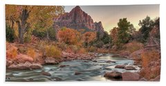 Virgin River And The Watchman Beach Towel
