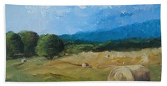 Beach Sheet featuring the painting Virginia Hay Bales II by Donna Tuten
