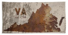 Virginia State Map Industrial Rusted Metal On Cement Wall With Founding Date Series 028 Beach Towel
