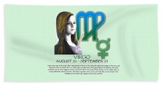 Virgo Sun Sign Beach Sheet by Shelley Overton