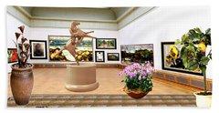 Virtual Exhibition - A Modern Horse Statue Beach Sheet by Pemaro
