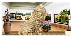 Virtual Exhibition - Statue Of A Lion Beach Towel by Pemaro