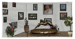 Beach Towel featuring the mixed media Virtual Exhibition -statue Of Girl by Pemaro