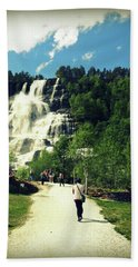 Visit To Tvindefossen Falls Beach Towel