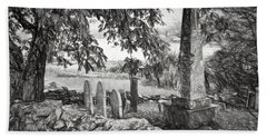Visiting History - Black And White Beach Towel