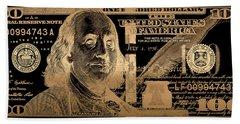 One Hundred Us Dollar Bill - $100 Usd In Gold On Black Beach Towel
