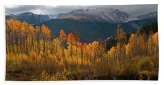 Vivid Autumn Aspen And Mountain Landscape Beach Sheet