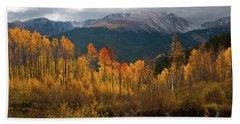Beach Towel featuring the photograph Vivid Autumn Aspen And Mountain Landscape by Cascade Colors