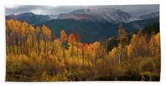 Vivid Autumn Aspen And Mountain Landscape Beach Sheet