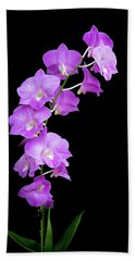 Vivid Purple Orchids Beach Towel
