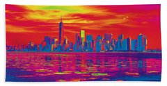 Vivid Skyline Of New York City, United States Beach Towel