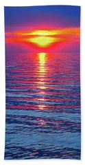 Vivid Sunset - Emerson Quote - Square Format Beach Towel by Ginny Gaura