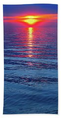 Vivid Sunset With Emerson Quote - Vertical Format Beach Towel by Ginny Gaura
