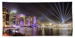 Vivid Sydney Skyline By Kaye Menner Beach Towel