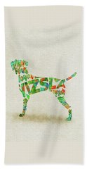 Beach Sheet featuring the painting Vizsla Watercolor Painting / Typographic Art by Inspirowl Design