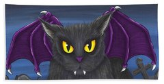 Beach Towel featuring the painting Vlad Vampire Cat by Carrie Hawks