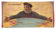 Vlissinger Post Route - Zeeland Maritime Company Poster - London To Flushing Ship Route Beach Towel