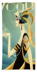 Beach Towel featuring the digital art Vogue - Bird On Hand by Chuck Staley
