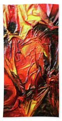 Beach Towel featuring the mixed media Volcanic Fire by Angela Stout