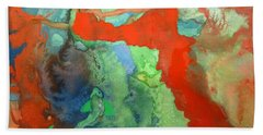 Beach Sheet featuring the mixed media Volcanic Island by Mary Ellen Frazee