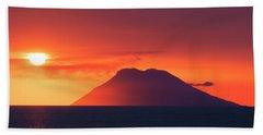 Volcano At Sea Beach Towel