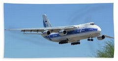Beach Sheet featuring the photograph Volga-dnepr An-124 Ra-82068 Landing Phoenix Sky Harbor June 15 2016 by Brian Lockett
