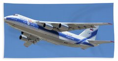 Beach Sheet featuring the photograph Volga-dnepr An-124 Ra-82068 Take-off Phoenix Sky Harbor June 15 2016 by Brian Lockett