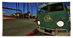 Volkswagen Bus At The Imperial Beach Pier Beach Towel