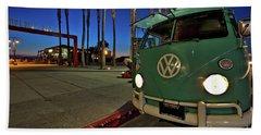 Volkswagen Bus At The Imperial Beach Pier Beach Towel