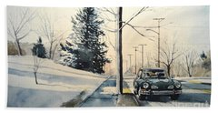 Volkswagen Karmann Ghia On Snowy Road Beach Sheet