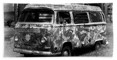 Beach Sheet featuring the photograph Volkswagen Microbus Nostalgia In Black And White by Bill Swartwout Fine Art Photography
