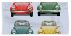 Volkswagen Type 1 - Variety Of Volkswagen Beetle On Vintage Background Beach Towel