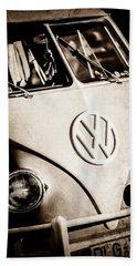 Beach Towel featuring the photograph Volkswagen Vw Bus Emblem -1355s by Jill Reger
