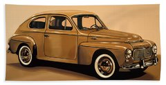 Volvo Pv 544 1958 Painting Beach Towel