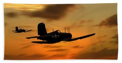 Beach Towel featuring the digital art Vought Corsairs At Sunset by John Wills